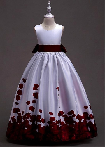 Lovely Satin Jewel Neckline A-line Flower Girl Dress With Belt