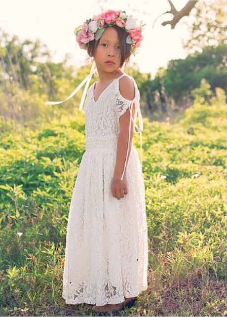 Cute Lace V-neck Neckine A-line Flower Girl Dresses
