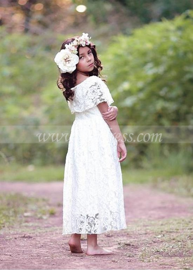 Beautiful Lace Jewel Neckine A-line Flower Girl Dresses