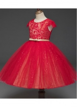 Marvelous Lace & Tulle Jewel Neckline A-line Flower Girl Dresses With Bowknot