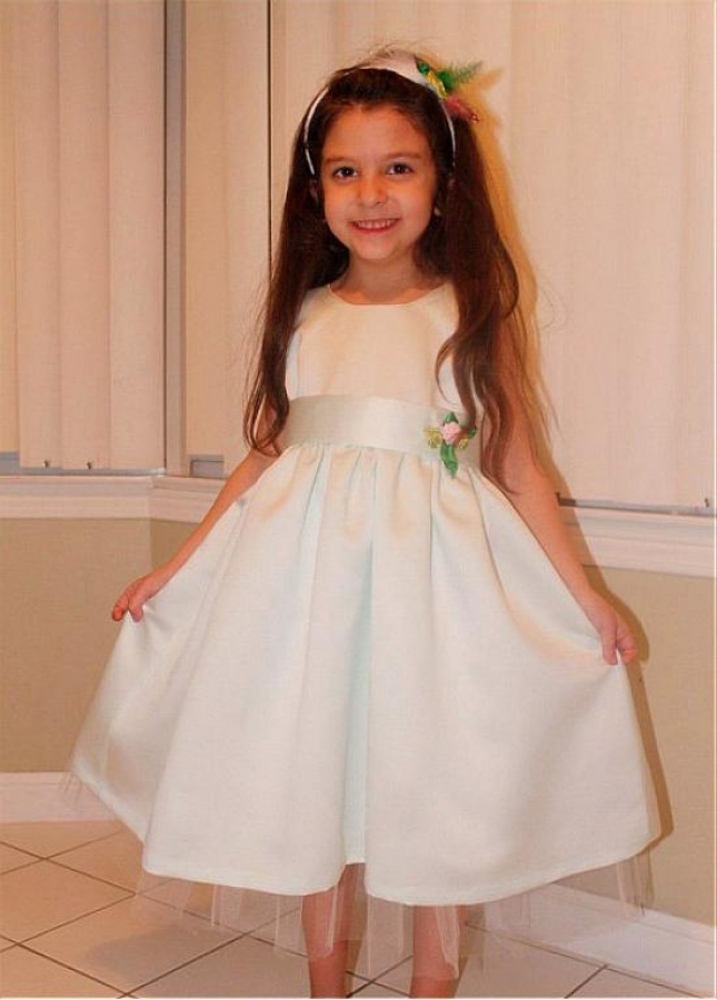 Pretty Satin & Tulle Jewel Neckline A-line Flower Girl Dresses With Belt