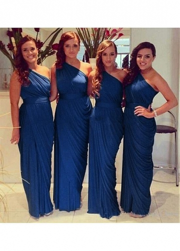 Beautiful Chiffon One Shoulder Neckline Full-length Sheath/Column Bridesmaid Dresses With Belt