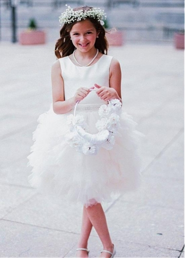 Gorgeous Tulle & Satin Scoop Neckline Ball Gown Flower Girl Dresses With Beadings