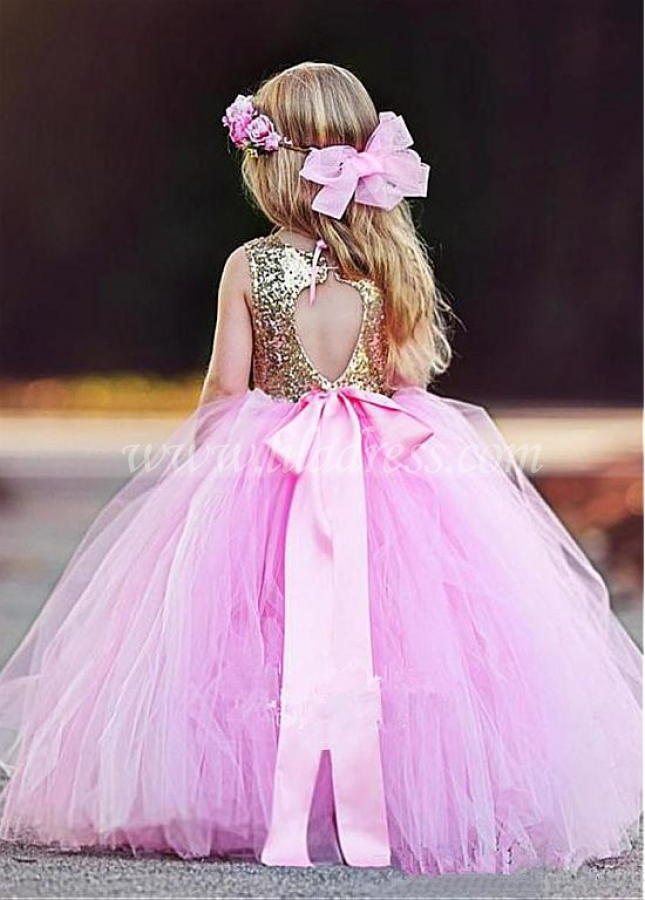 Wonderful Sequin Lace & Tulle Scoop Neckline Ball Gown Flower Girl Dresses With Belt