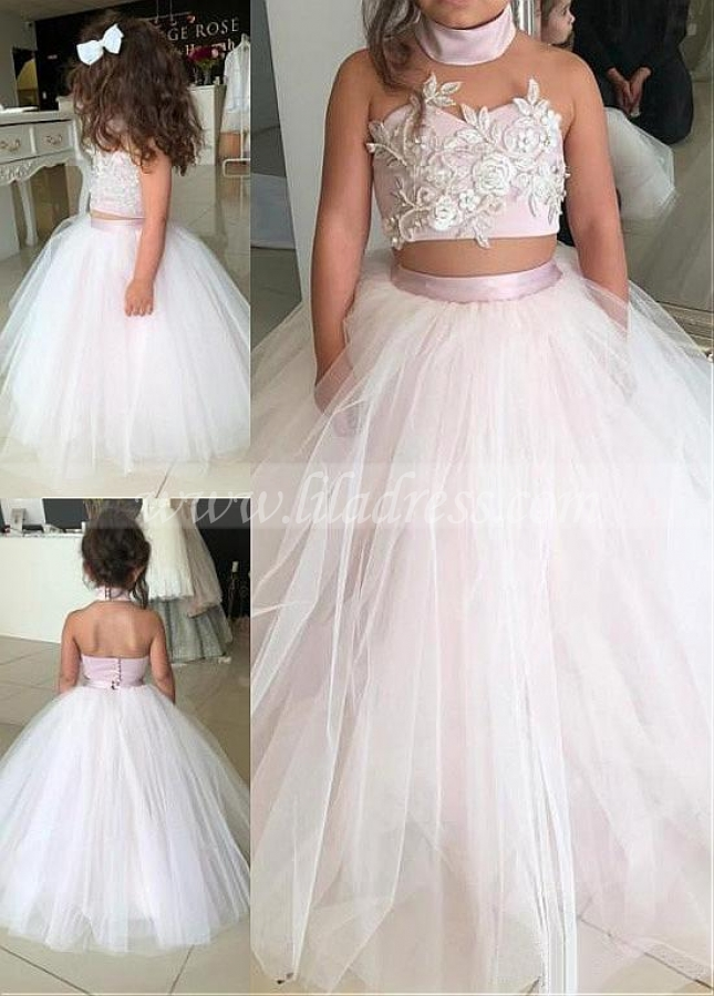 Gorgeous Satin & Tulle Floor-length Ball Gown Flower Girl Dresses With Beaded Lace Appliques
