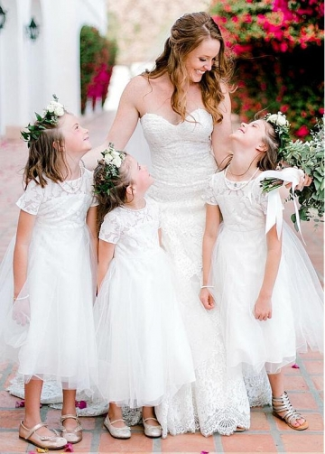 Fabulous Lace & Tulle Jewel Neckline A-line Flower Girl Dresses