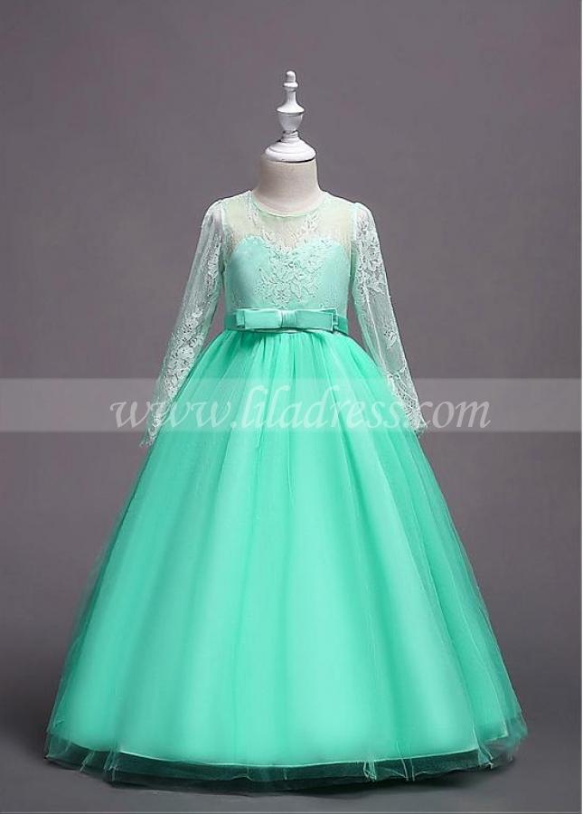 Fabulous Tulle & Lace Jewel Neckline A-line Flower Girl Dress With Belt