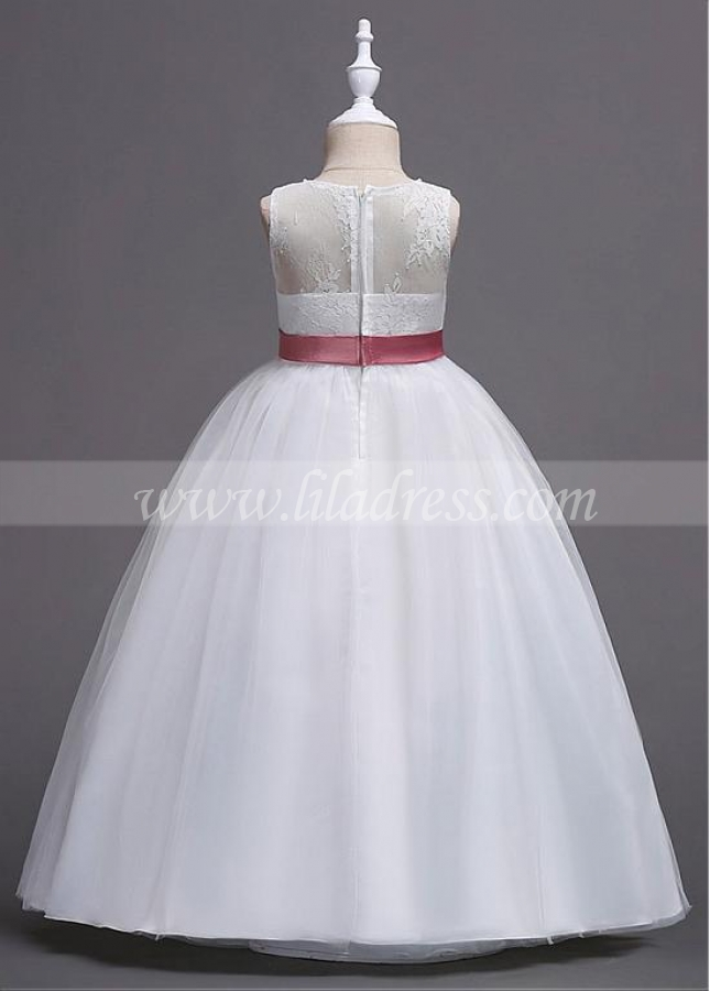 Marvelous Lace & Satin Jewel Neckline A-line Flower Girl Dress With Beadings