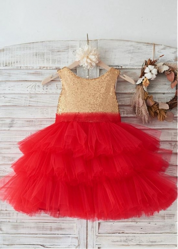 Glamorous Tulle & Sequin Lace Scoop Neckline Knee-length Ball Gown Flower Girl Dresses With Bowknot