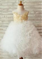 Romantic Lace & Tulle Jewel Neckline Tea-length Ball Gown Flower Girl Dresses