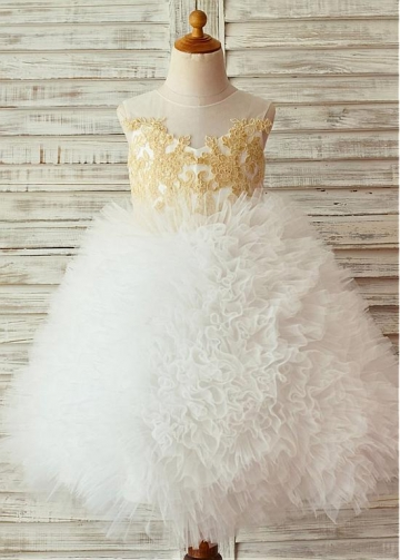 Romantic Lace & Tulle Jewel Neckline Tea-length Ball Gown Flower Girl Dresses