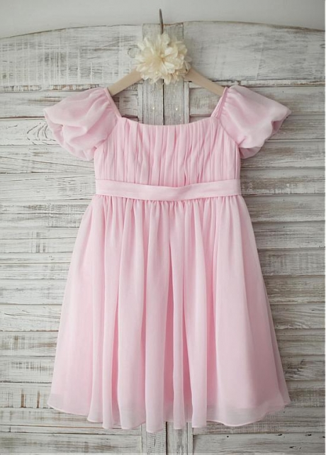 Unique Chiffon Square Neckline Cap Sleeves Knee-length A-line Flower Girl Dresses
