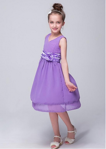 Graceful Chiffon Scoop Neckline A-line Flower Girl Dresses With Handmade Flower