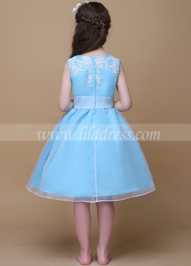 Fashionable Organza Jewel Neckline Ball Gown Flower Girl Dresses With Beaded Lace Appliques