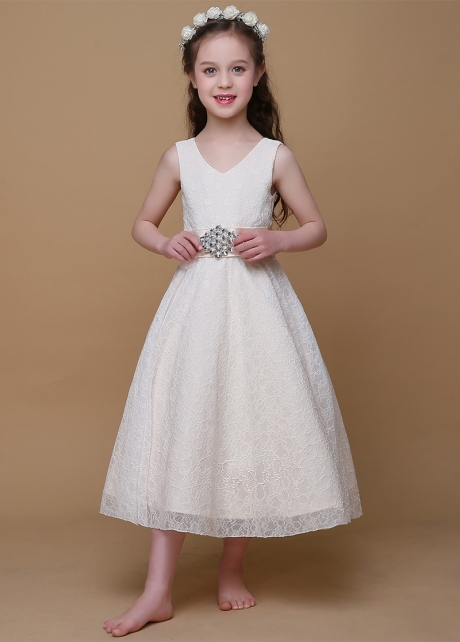 Glamorous Lace V-Neck A-Line Flower Girl Dresses With Rhinestones