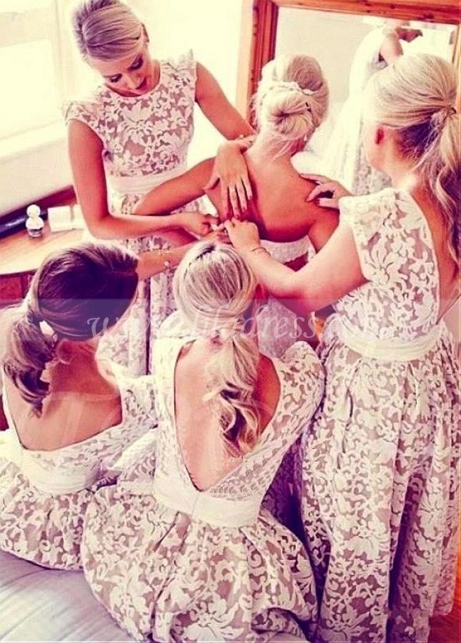 Alluring Lace & Satin Jewel Neckline Hi-lo A-line Bridesmaid Dresses With Belt