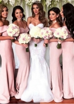 Delicate Pink Off-the-shoulder Neckline Floor-length Mermaid Bridesmaid Dresses