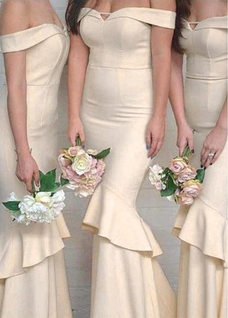 Alluring Satin Off-the-shoulder Neckline Floor-length Mermaid Bridesmaid Dresses