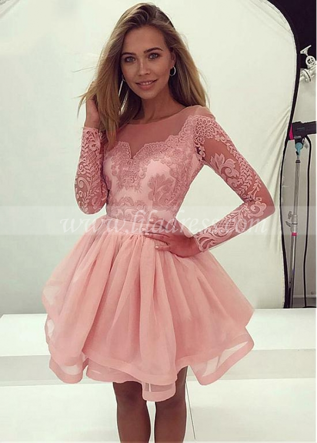 Winsome Tulle & Organza Jewel Neckline Short A-line Homecoming Dresses With Lace Appliques & Belt