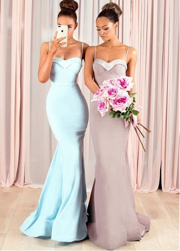 Alluring Satin Spaghetti Straps Neckline Floor-length Mermaid Bridesmaid Dresses With Belt