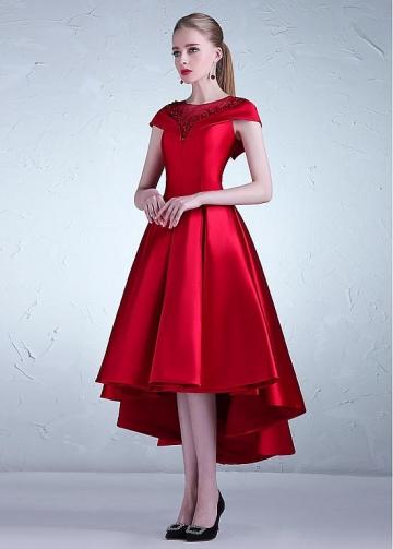 Romantic Tulle & Satin Jewel Neckline Hi-lo A-line Prom Dress With Beadings