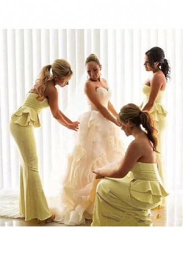 Exquisite Satin Sweetheart Neckline Floor-length Mermaid Bridesmaid Dresses