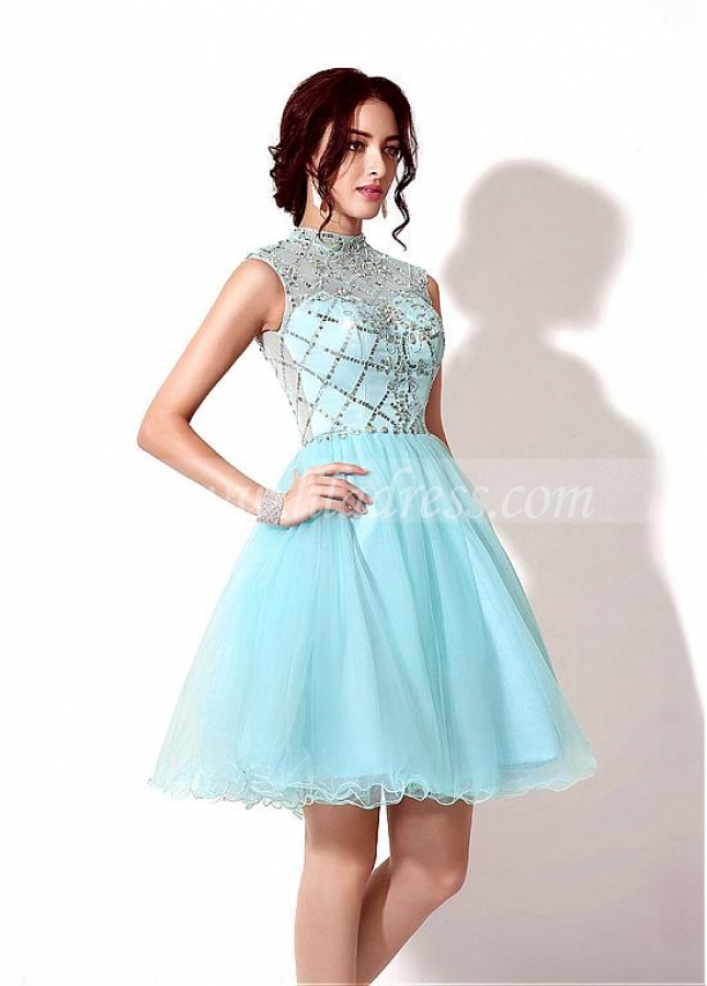 Light Blue Tulle High Collar Neckline Short A-line Homecoming Dress With Beadings