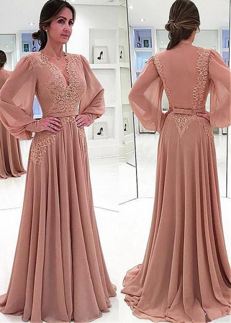 Gorgeous Chiffon V-neck Neckline A-line Mother Of The Bride Dress With Lace Appliques & Belt
