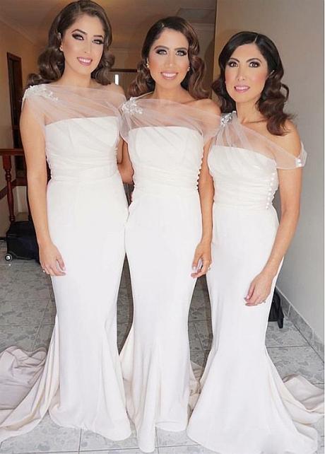 Romantic Spandex One Shoulder Neckline Mermaid Bridesmaid Dresses With Lace Appliques