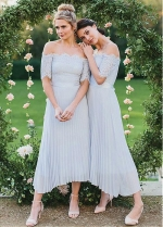 Fantastic Lace & Chiffon Off-the-shoulder Neckline A-line Bridesmaid Dress With Belt