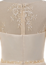 Exquisite Lace & Acetate Satin Scoop Neckline Knee-length Sheath/Column Mother Of The Bride Dresses With Beadings