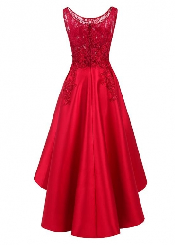 Pretty Tulle & Satin Scoop Neckline Hi-lo A-line Prom Dresses With Hot Fix Rhinestones & Lace Appliques