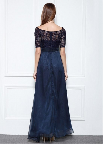 Fabulous Lace & Chiffon Square Neckline A-line Evening Dresses