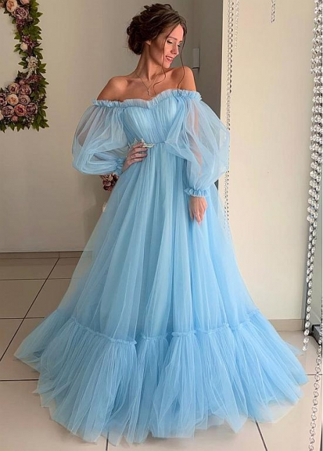 Modest Tulle Off-the-shoulder Neckline Floor-length A-line Prom Dresses With Lace Appliques