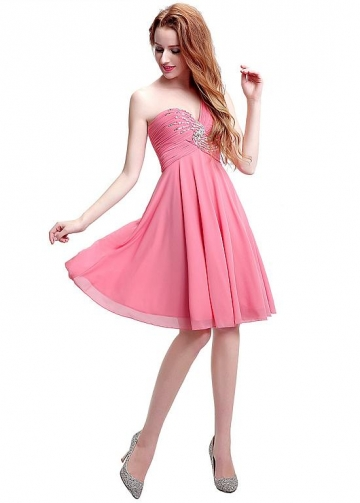 Fantastic Chiffon One Shoulder Neckline Knee-length A-line Bridesmaid / Sweet 16 / Homecoming Dresses