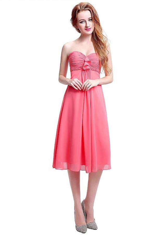 Elegant Chiffon Sweetheart Neckline Knee-length A-line Bridesmaid Dresses With Pleats