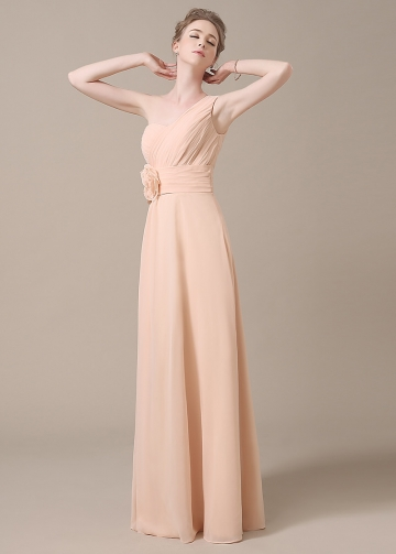 Elegant Chiffon One Shoulder Neckline Full-length A-line Bridesmaid Dresses