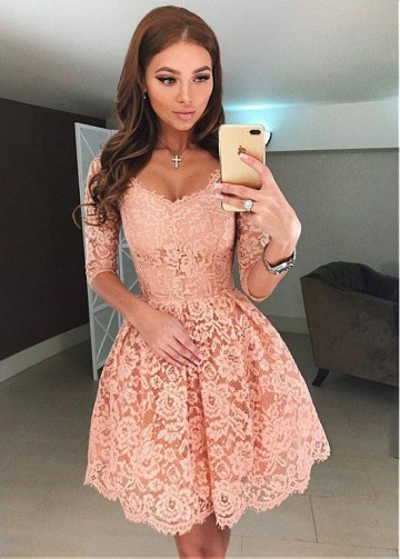 Chic Lace V-neck Neckline 3/4 Length Sleeves Short A-line Homecoming Dress
