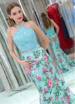 Fashionable Halter Neckline Two-piece Mermaid Prom Dresses