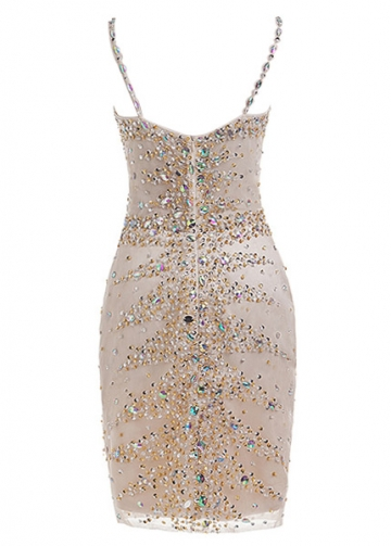 Brilliant Tulle Spaghetti Straps Neckline Short Sheath/Column Cocktail Dress With Beadings & Rhinestones