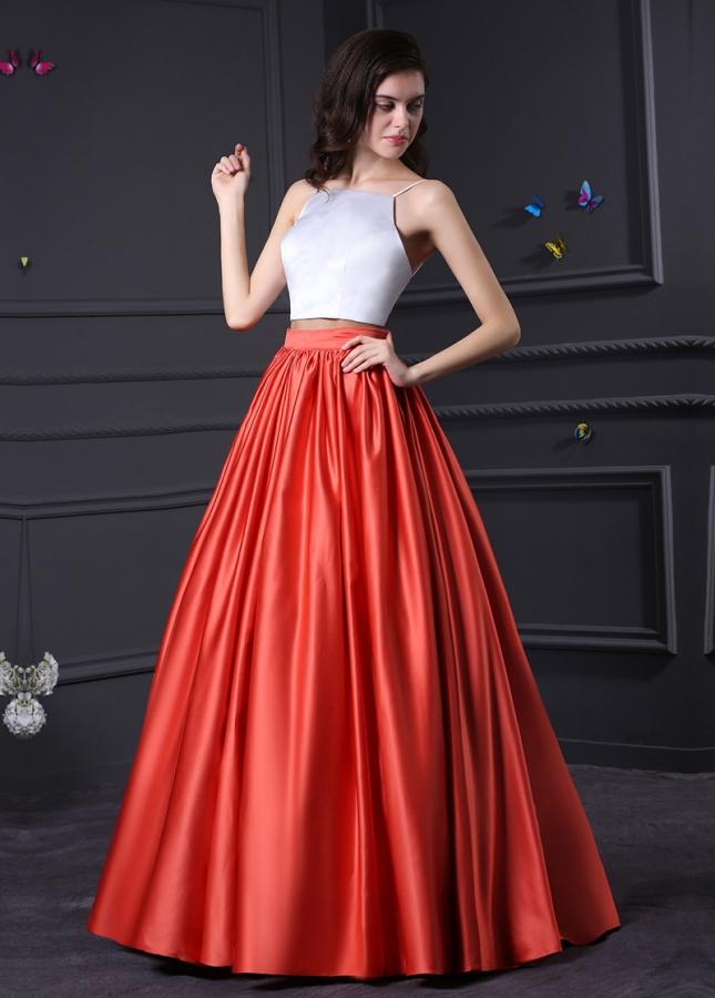Alluring Satin Spaghetti Straps Neckline Ball Gown Prom Dresses
