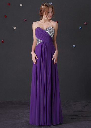 Brilliant Chiffon Sweetheart Neckline A-Line Prom Dresses