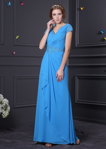 Alluring Chiffon & Stretch Satin V-Neck A-Line Prom Dresses