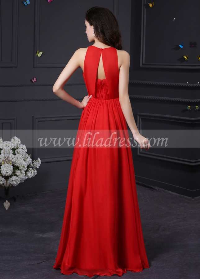 Amazing Chiffon & Stretch Satin High Collar Neckline A-Line Prom / Bridesmaid Dresses