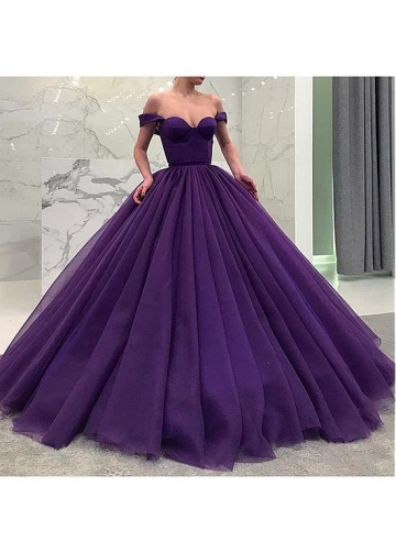 Splendid Satin & Tulle Off-the-shoulder Neckline Floor-length Ball Gown Quinceanera Dresses With Belt