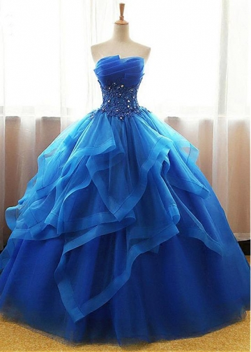 Exquisite Tulle & Organza Strapless Neckline Floor-length Ball Gown Quinceanera Dresses With Beaded Lace Appliques