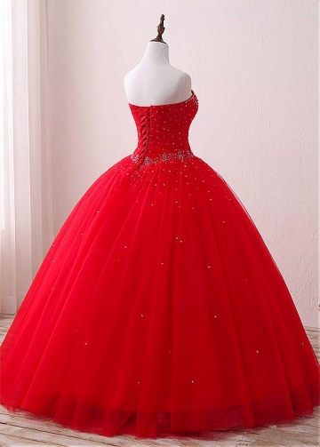 Winsome Tulle & Satin Sweetheart Neckline Floor-length Ball Gown Quinceanera Dresses With Beadings