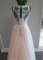 Modest Tulle V-neck Neckline A-Line Wedding Dress With Lace Appliques & Belt