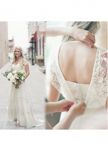 Fantastic Lace & Tulle V-neck Neckline A-line Wedding Dress With Beadings