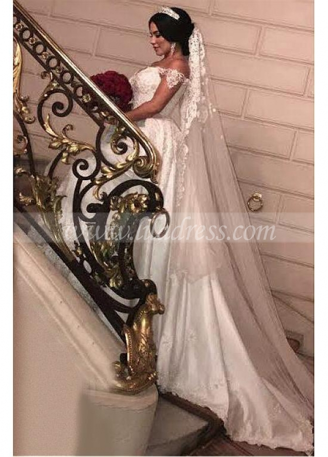 Junoesque Satin Off-the-shoulder Neckline 2 In 1 Wedding Dresses With Beaded Lace Appliques & 3D Flowers & Detachable Train